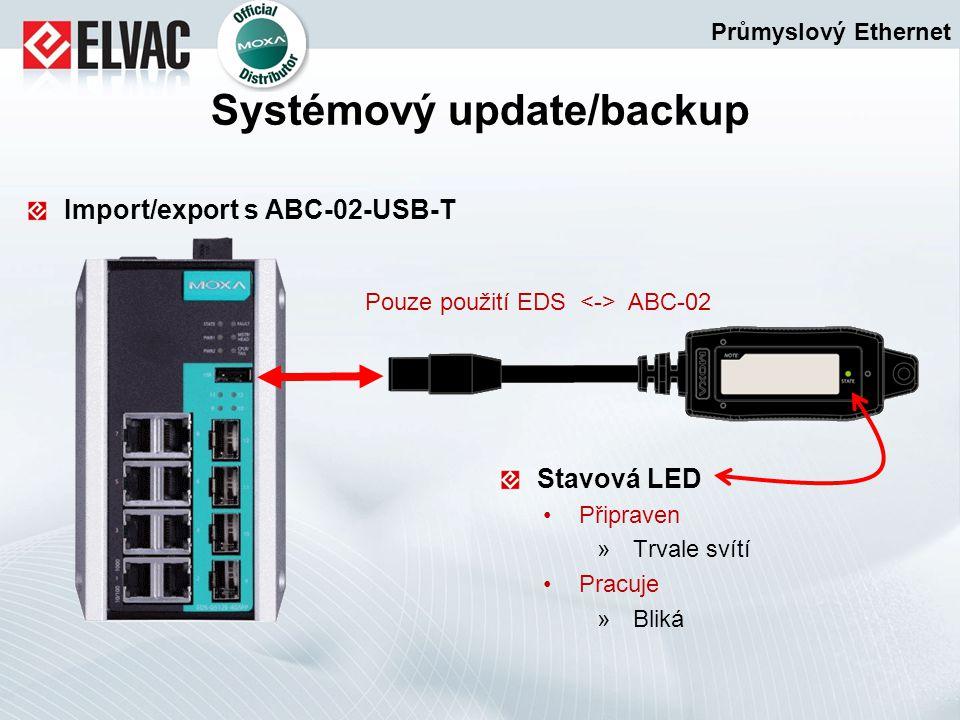 Import/export s ABC-02-USB-T Stavová LED Připraven »Trvale svítí Pracuje »Bliká Průmyslový Ethernet Systémový update/backup Pouze použití EDS ABC-02