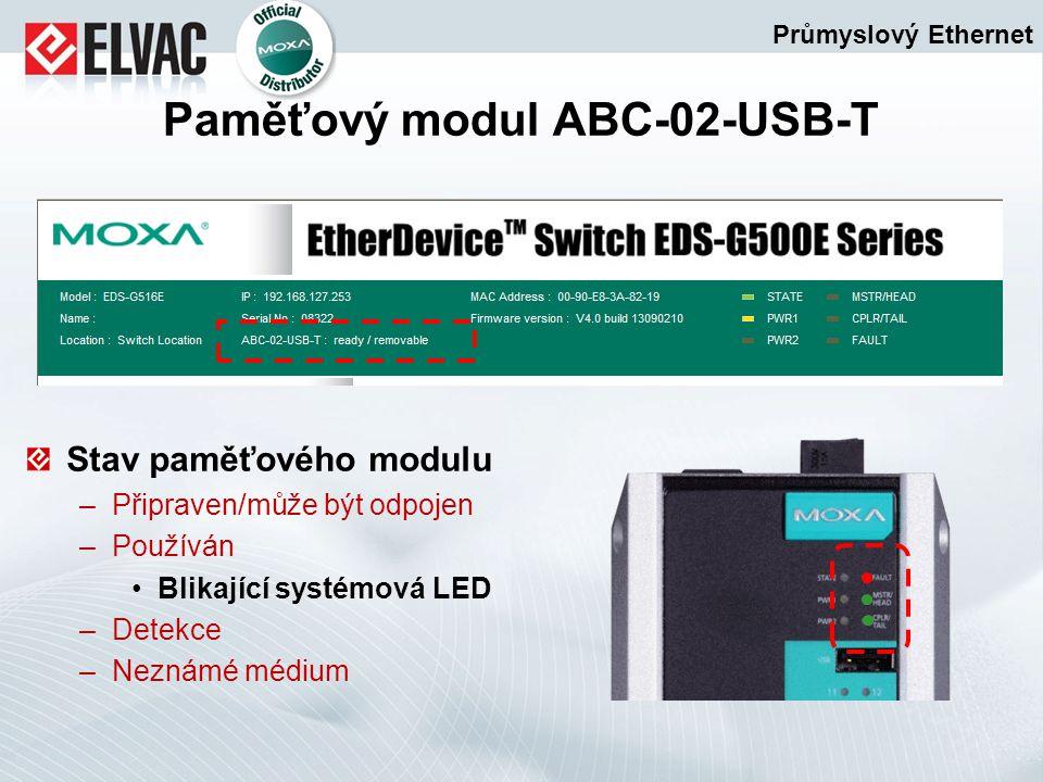 Stav paměťového modulu –Připraven/může být odpojen –Používán Blikající systémová LED –Detekce –Neznámé médium Průmyslový Ethernet Paměťový modul ABC-0