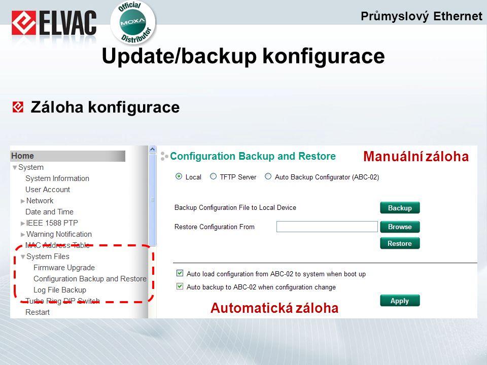 Záloha konfigurace Průmyslový Ethernet Update/backup konfigurace Manuální záloha Automatická záloha