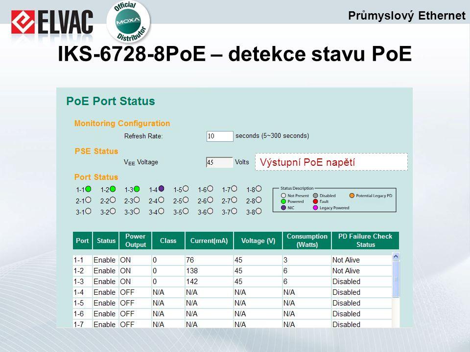 Průmyslový Ethernet IKS-6728-8PoE – detekce stavu PoE Výstupní PoE napětí
