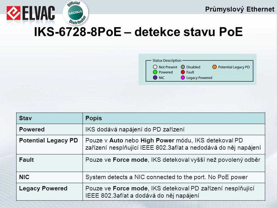 Průmyslový Ethernet IKS-6728-8PoE – detekce stavu PoE StavPopis PoweredIKS dodává napájení do PD zařízení Potential Legacy PDPouze v Auto nebo High Po
