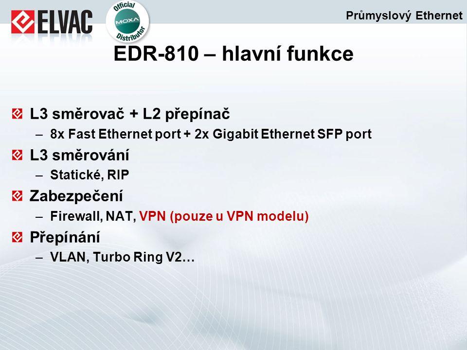 L3 směrovač + L2 přepínač –8x Fast Ethernet port + 2x Gigabit Ethernet SFP port L3 směrování –Statické, RIP Zabezpečení –Firewall, NAT, VPN (pouze u V