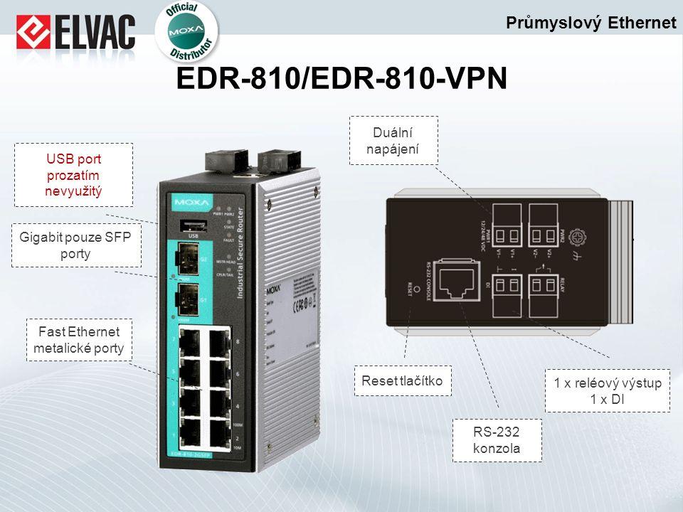 Průmyslový Ethernet EDR-810/EDR-810-VPN USB port prozatím nevyužitý Fast Ethernet metalické porty Gigabit pouze SFP porty Duální napájení 1 x reléový
