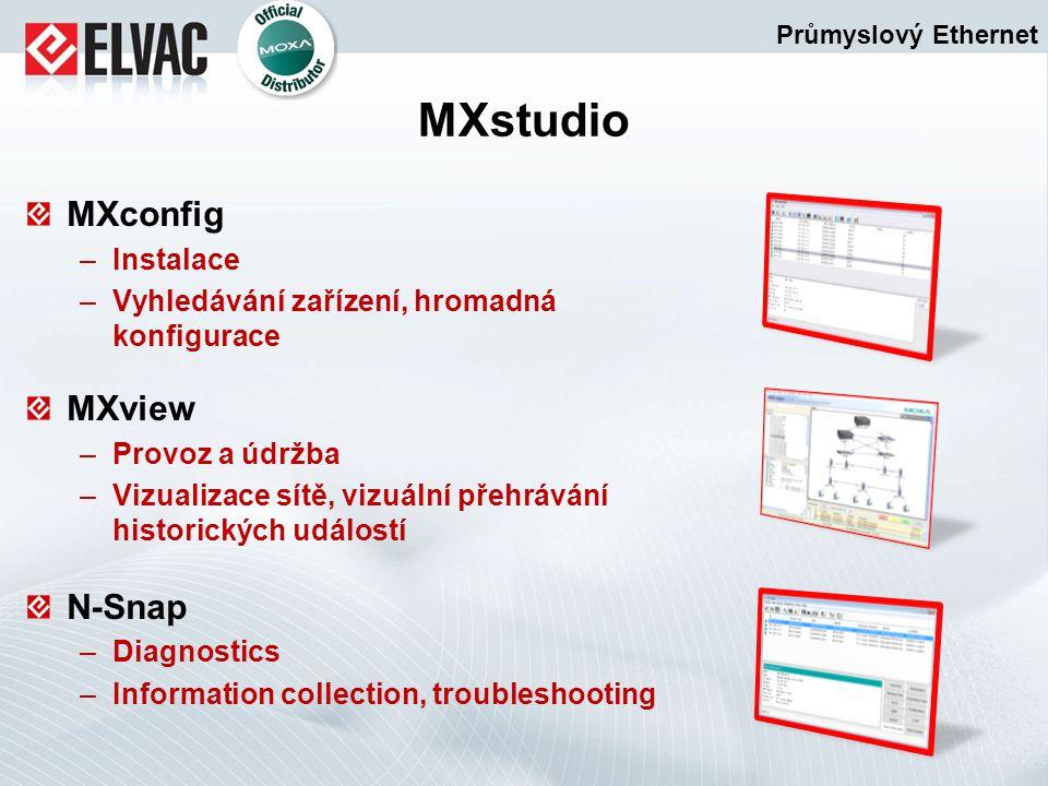 MXconfig –Instalace –Vyhledávání zařízení, hromadná konfigurace MXview –Provoz a údržba –Vizualizace sítě, vizuální přehrávání historických událostí N