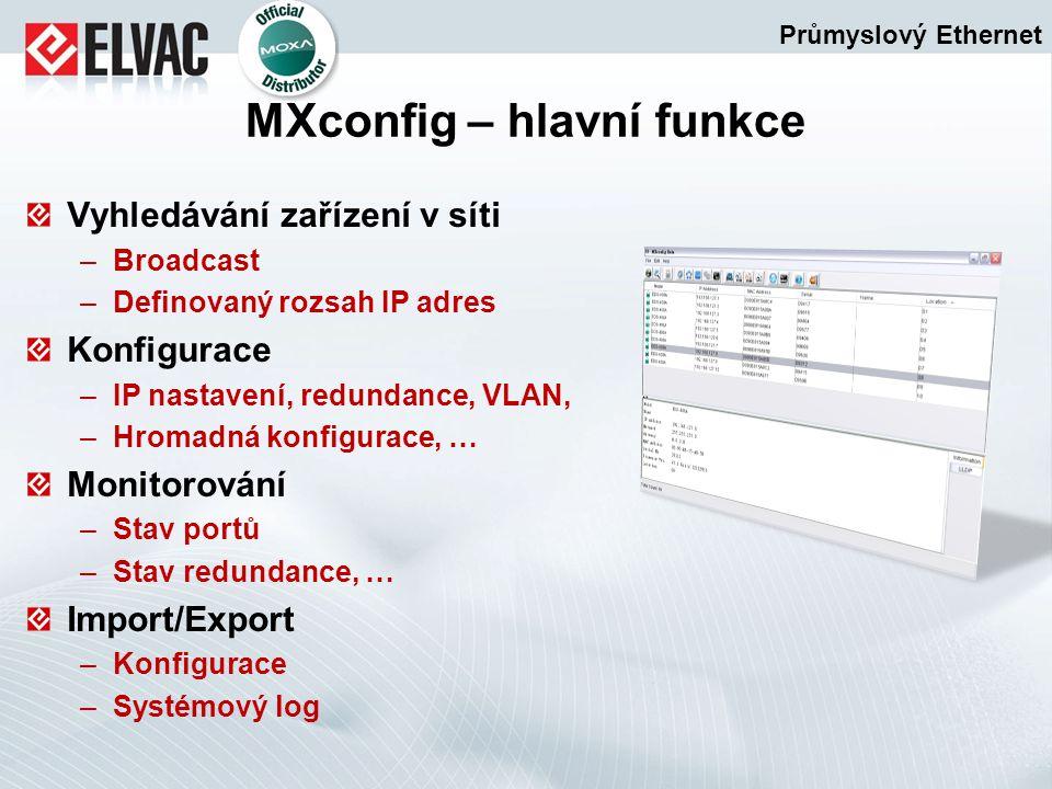 Vyhledávání zařízení v síti –Broadcast –Definovaný rozsah IP adres Konfigurace –IP nastavení, redundance, VLAN, –Hromadná konfigurace, … Monitorování