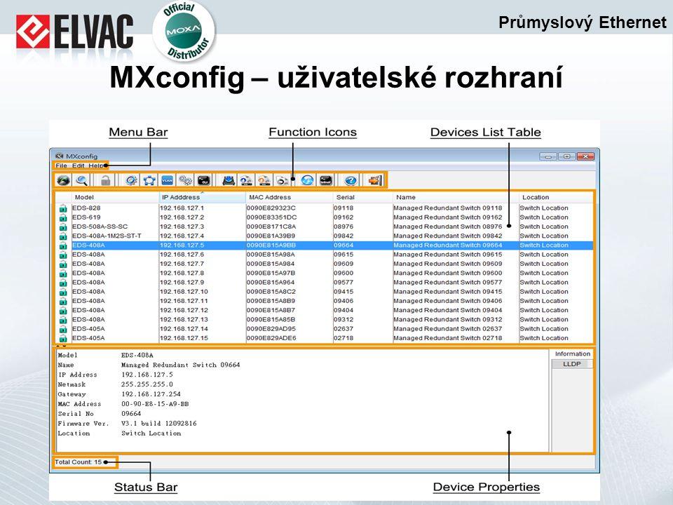 Průmyslový Ethernet MXconfig – uživatelské rozhraní