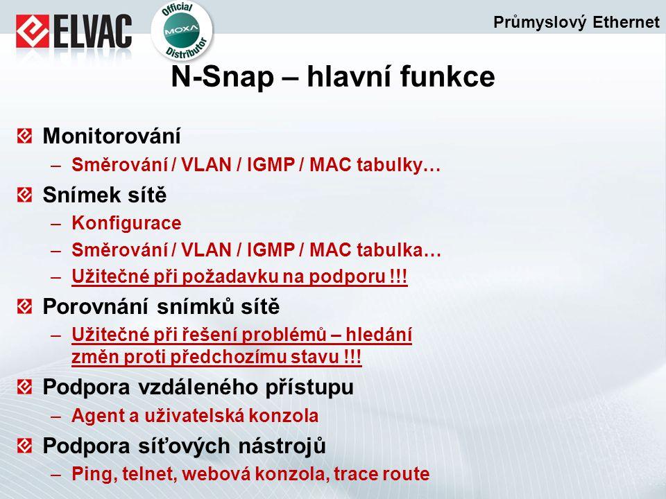 Monitorování –Směrování / VLAN / IGMP / MAC tabulky… Snímek sítě –Konfigurace –Směrování / VLAN / IGMP / MAC tabulka… –Užitečné při požadavku na podpo