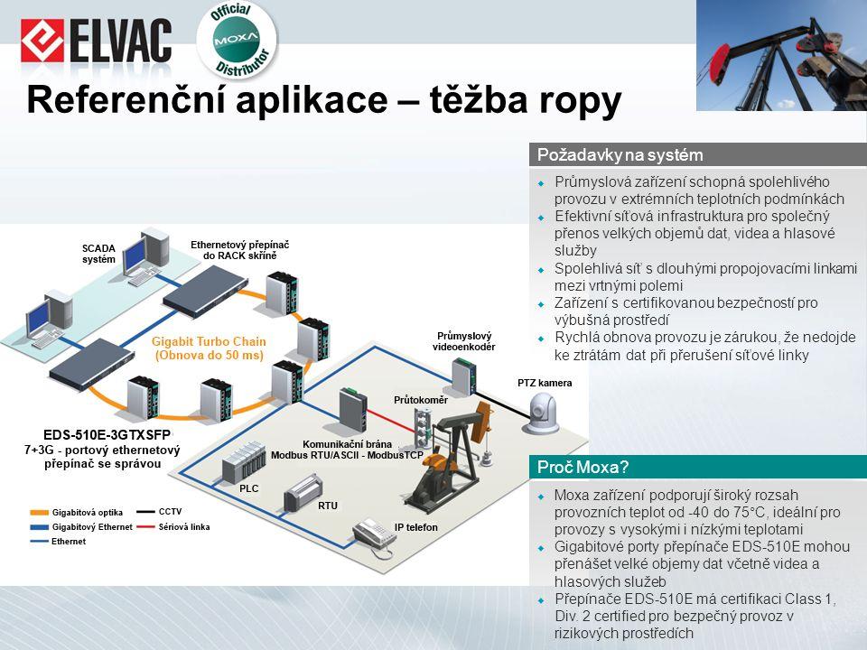 Referenční aplikace – těžba ropy  Moxa zařízení podporují široký rozsah provozních teplot od -40 do 75°C, ideální pro provozy s vysokými i nízkými te