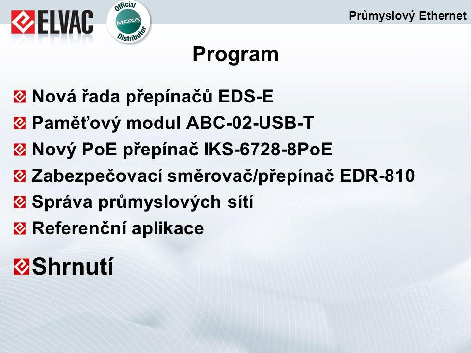 Program Nová řada přepínačů EDS-E Paměťový modul ABC-02-USB-T Nový PoE přepínač IKS-6728-8PoE Zabezpečovací směrovač/přepínač EDR-810 Správa průmyslov