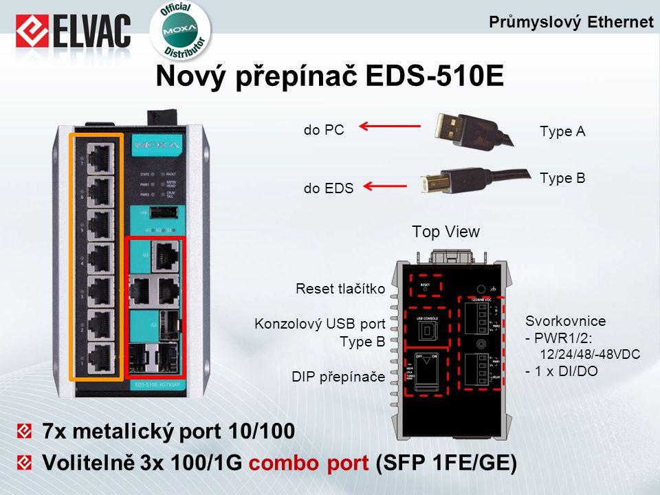 do PC do EDS Type A Type B 7x metalický port 10/100 Volitelně 3x 100/1G combo port (SFP 1FE/GE) Průmyslový Ethernet Nový přepínač EDS-510E Svorkovnice