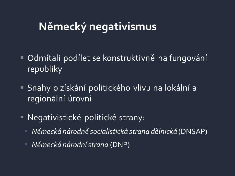  Odmítali podílet se konstruktivně na fungování republiky  Snahy o získání politického vlivu na lokální a regionální úrovni  Negativistické politic