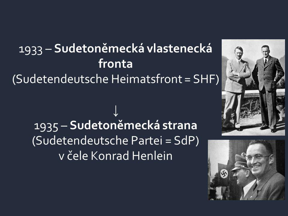 1933 – Sudetoněmecká vlastenecká fronta (Sudetendeutsche Heimatsfront = SHF) ↓ 1935 – Sudetoněmecká strana (Sudetendeutsche Partei = SdP) v čele Konra