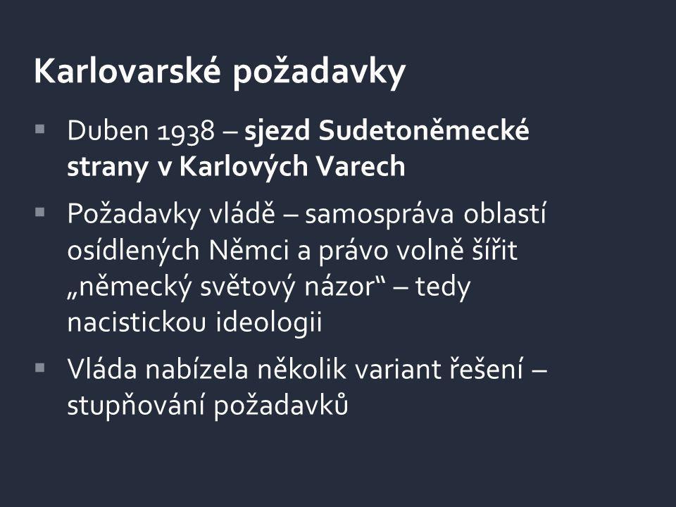 """ Duben 1938 – sjezd Sudetoněmecké strany v Karlových Varech  Požadavky vládě – samospráva oblastí osídlených Němci a právo volně šířit """"německý svět"""