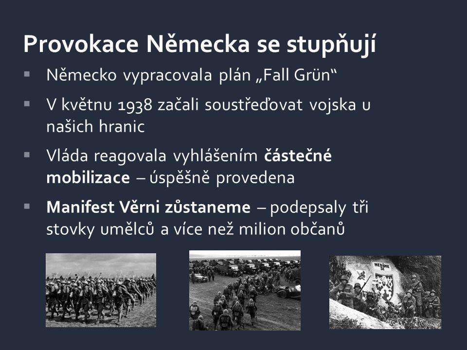 """ Německo vypracovala plán """"Fall Grün""""  V květnu 1938 začali soustřeďovat vojska u našich hranic  Vláda reagovala vyhlášením částečné mobilizace – ú"""