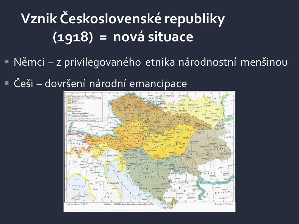 Vznik Československé republiky (1918) = nová situace  Němci – z privilegovaného etnika národnostní menšinou  Češi – dovršení národní emancipace