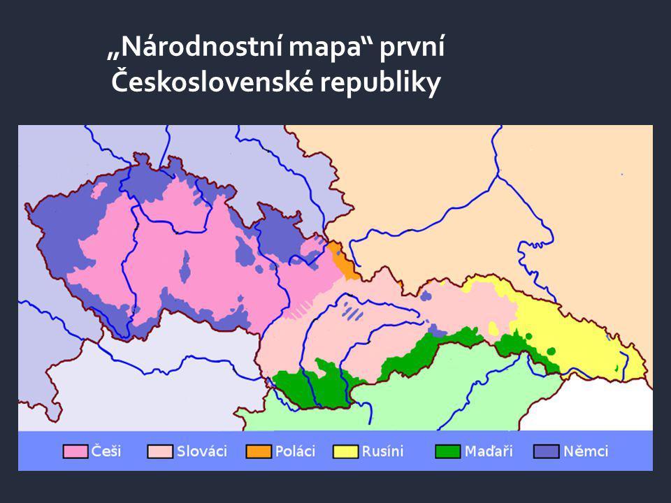 """""""Národnostní mapa"""" první Československé republiky"""