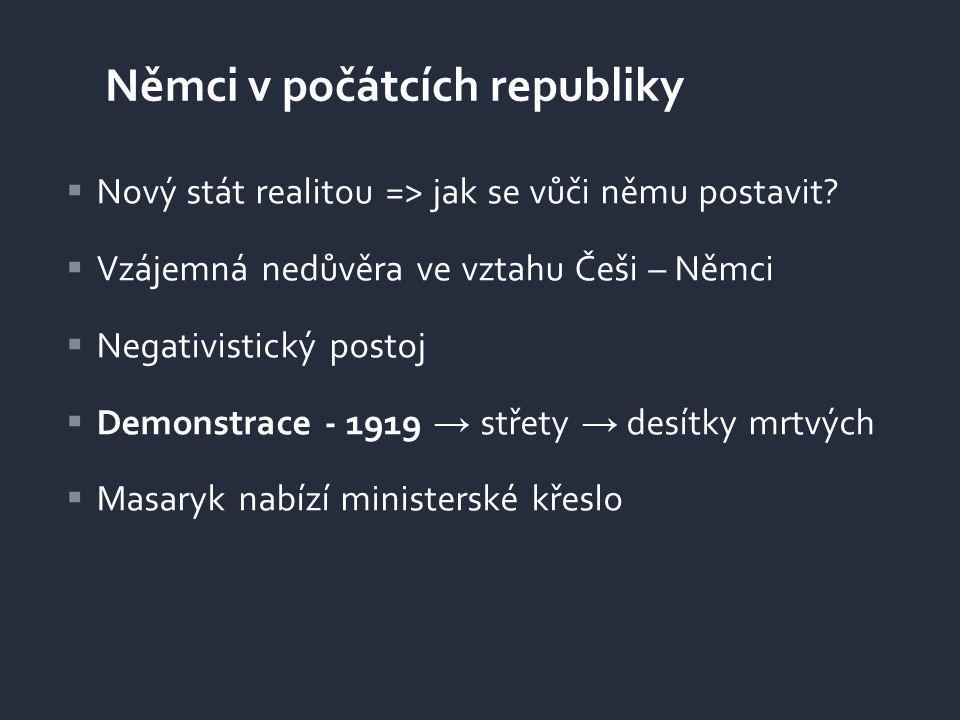  Nový stát realitou => jak se vůči němu postavit?  Vzájemná nedůvěra ve vztahu Češi – Němci  Negativistický postoj  Demonstrace - 1919 → střety →