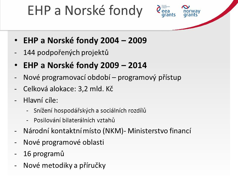 EHP a Norské fondy EHP a Norské fondy 2004 – 2009 -144 podpořených projektů EHP a Norské fondy 2009 – 2014 -Nové programovací období – programový přístup -Celková alokace: 3,2 mld.