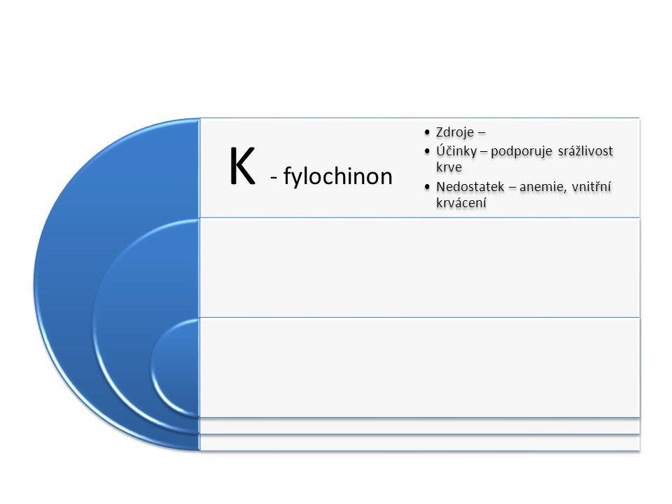 K - fylochinon Zdroje – Účinky – podporuje srážlivost krve Nedostatek – anemie, vnitřní krvácení