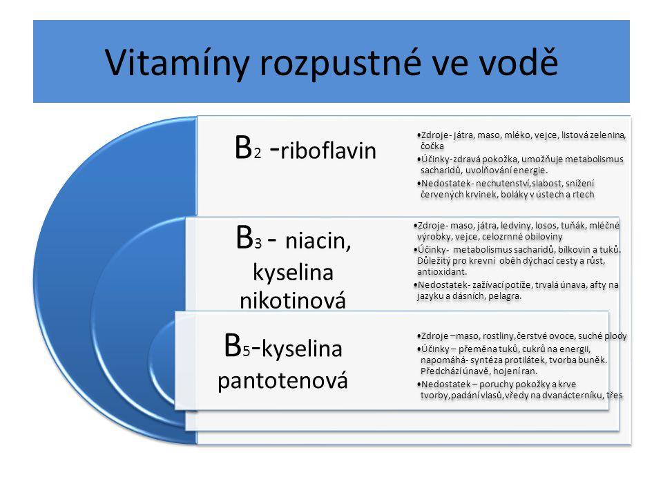 Vitamíny rozpustné ve vodě B 2 - riboflavin B 3 - niacin, kyselina nikotinová B 5 - kyselina pantotenová Zdroje- játra, maso, mléko, vejce, listová zelenina, čočka Účinky-zdravá pokožka, umožňuje metabolismus sacharidů, uvolňování energie.