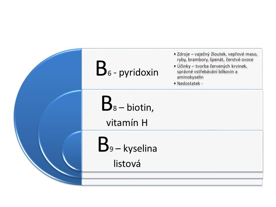 B 6 - pyridoxin B 8 – biotin, vitamín H B 9 – kyselina listová Zdroje – vaječný žloutek, vepřové maso, ryby, brambory, špenát, čerstvé ovoce Účinky – tvorba červených krvinek, správné vstřebávání bílkovin a aminokyselin Nedostatek -