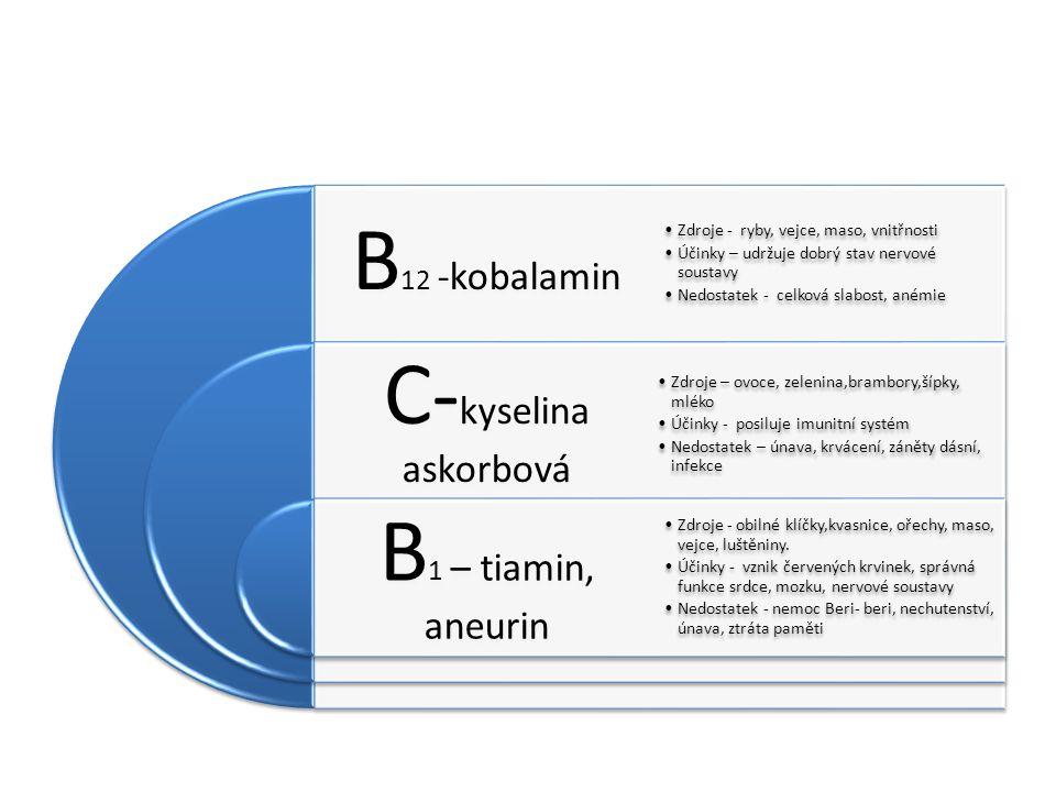 B 12 -kobalamin C- kyselina askorbová B 1 – tiamin, aneurin Zdroje - ryby, vejce, maso, vnitřnosti Účinky – udržuje dobrý stav nervové soustavy Nedostatek - celková slabost, anémie Zdroje – ovoce, zelenina,brambory,šípky, mléko Účinky - posiluje imunitní systém Nedostatek – únava, krvácení, záněty dásní, infekce Zdroje - obilné klíčky,kvasnice, ořechy, maso, vejce, luštěniny.