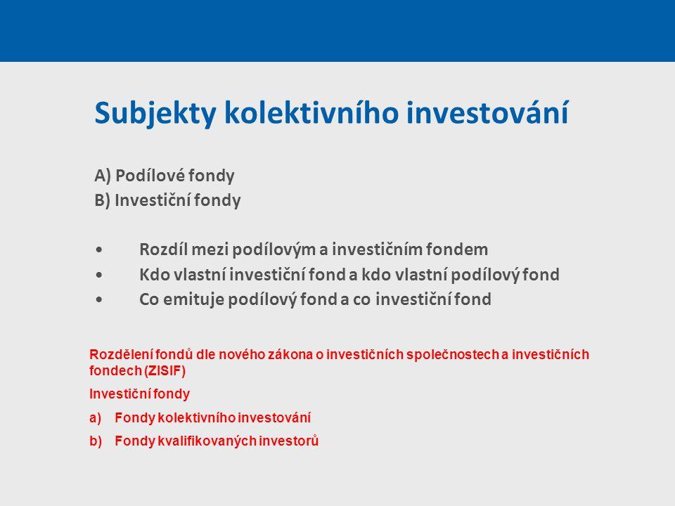 Subjekty kolektivního investování A) Podílové fondy B) Investiční fondy Rozdíl mezi podílovým a investičním fondem Kdo vlastní investiční fond a kdo v