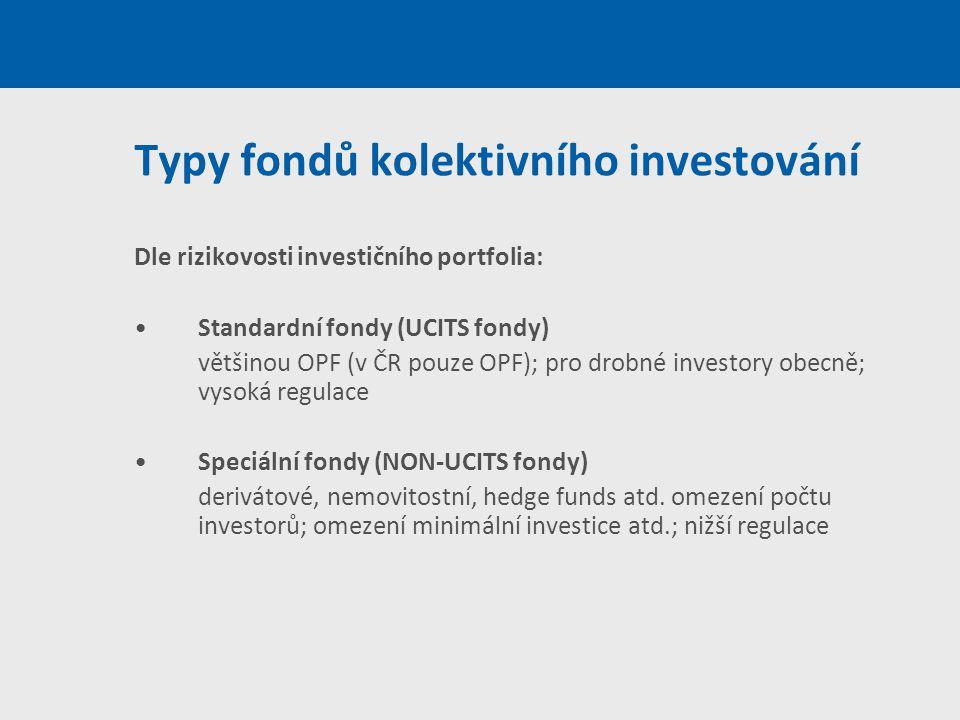 Typy fondů kolektivního investování Dle rizikovosti investičního portfolia: Standardní fondy (UCITS fondy) většinou OPF (v ČR pouze OPF); pro drobné i