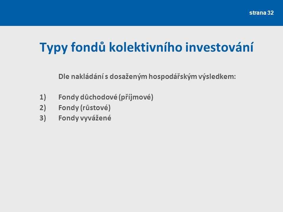 strana 32 Typy fondů kolektivního investování Dle nakládání s dosaženým hospodářským výsledkem: 1)Fondy důchodové (příjmové) 2)Fondy (růstové) 3)Fondy