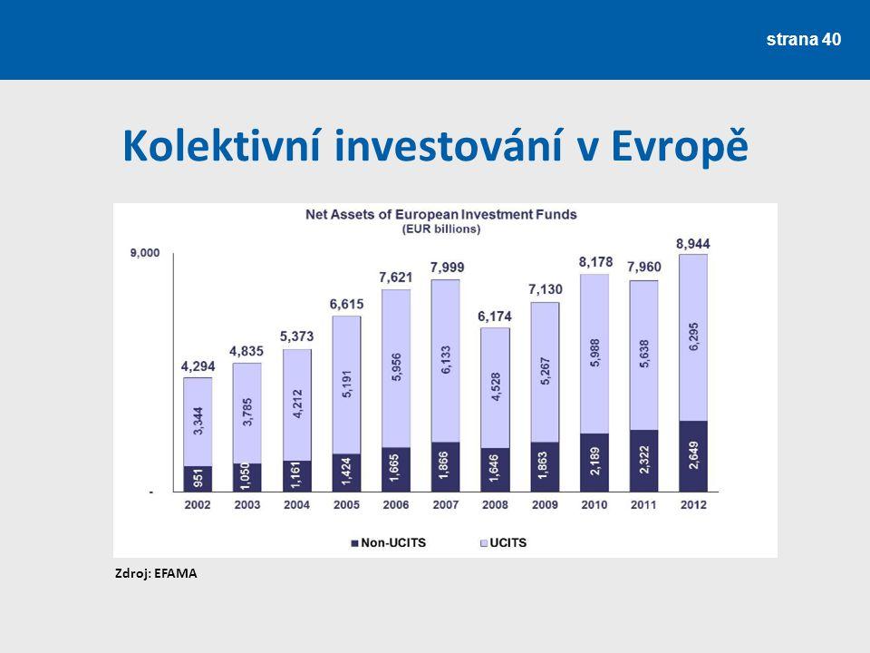 strana 40 Kolektivní investování v Evropě Zdroj: EFAMA