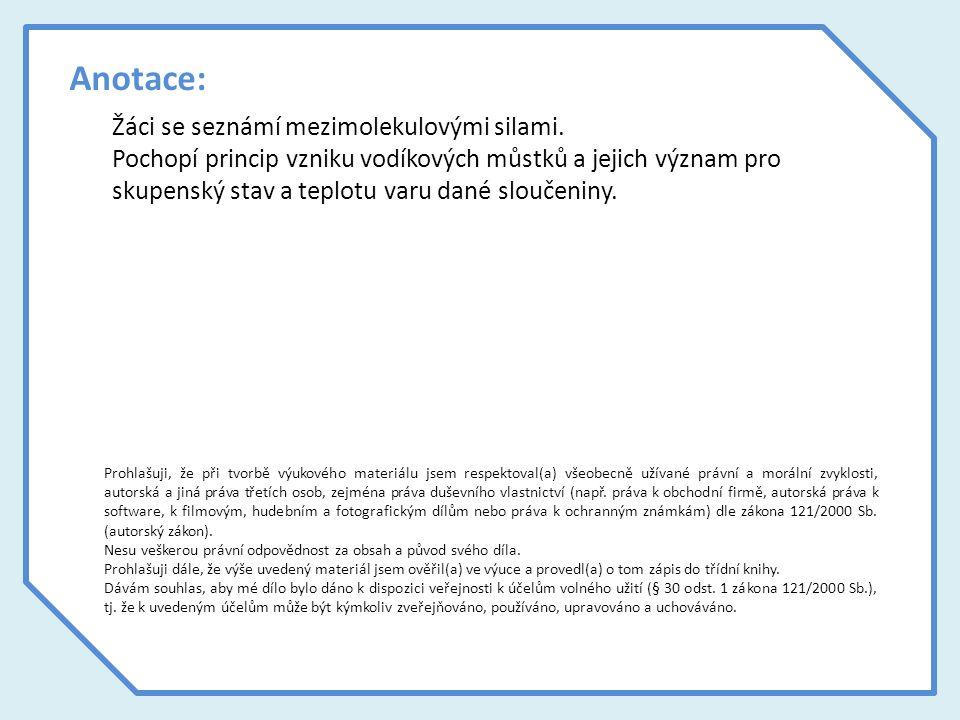 Zdroje použitých materiálů Všechny texty a schémata jsou vlastní tvorbou autorky.