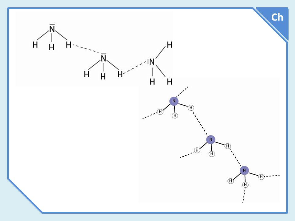 Vztah mezi bodem varu a přítomností vodíkových můstků ve sloučenině Ch V následujícím grafu jsou hodnoty teplot varu jednotlivých sloučenin pouze orientační a mají ilustrovat fakt, že přítomnost vodíkových můstků vede k výraznému zvýšení bodu varu dané sloučeniny.