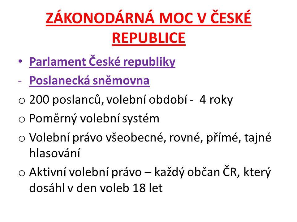 ZÁKONODÁRNÁ MOC V ČESKÉ REPUBLICE Parlament České republiky -Poslanecká sněmovna o 200 poslanců, volební období - 4 roky o Poměrný volební systém o Vo