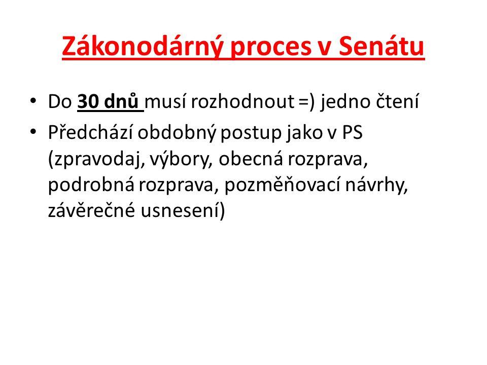 Zákonodárný proces v Senátu Do 30 dnů musí rozhodnout =) jedno čtení Předchází obdobný postup jako v PS (zpravodaj, výbory, obecná rozprava, podrobná