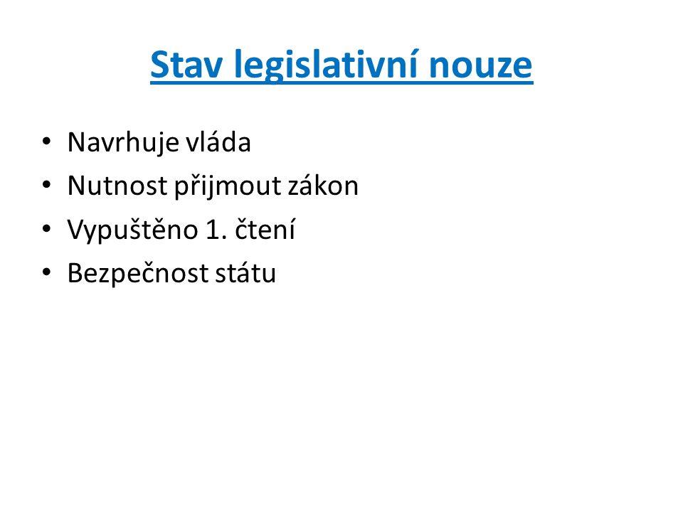 Stav legislativní nouze Navrhuje vláda Nutnost přijmout zákon Vypuštěno 1. čtení Bezpečnost státu