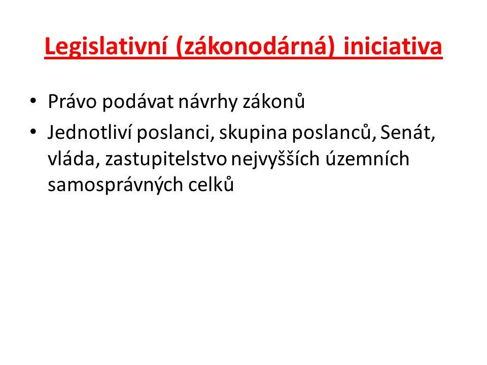 Legislativní (zákonodárná) iniciativa Právo podávat návrhy zákonů Jednotliví poslanci, skupina poslanců, Senát, vláda, zastupitelstvo nejvyšších územn