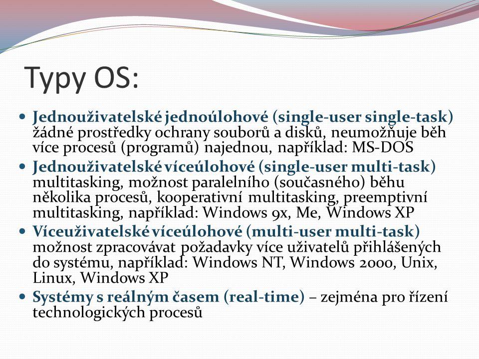 Typy OS: Jednouživatelské jednoúlohové (single-user single-task) žádné prostředky ochrany souborů a disků, neumožňuje běh více procesů (programů) naje