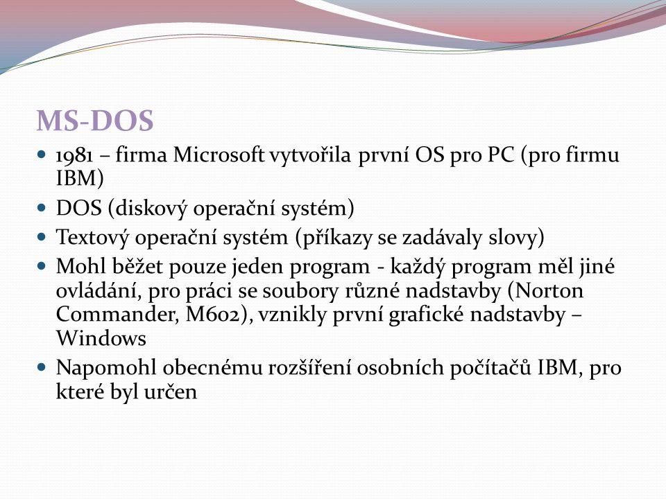 MS-DOS 1981 – firma Microsoft vytvořila první OS pro PC (pro firmu IBM) DOS (diskový operační systém) Textový operační systém (příkazy se zadávaly slo