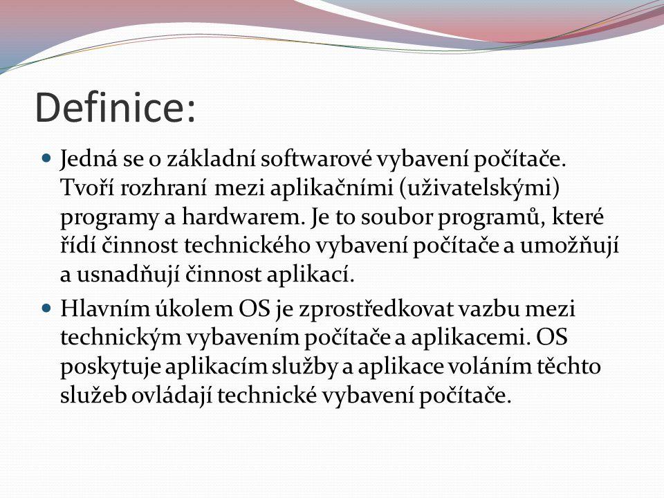 Funkce OS: Organizuje přístup a využívání zdrojů počítače (čas procesoru, přístup k datům na discích, přístup do paměti).