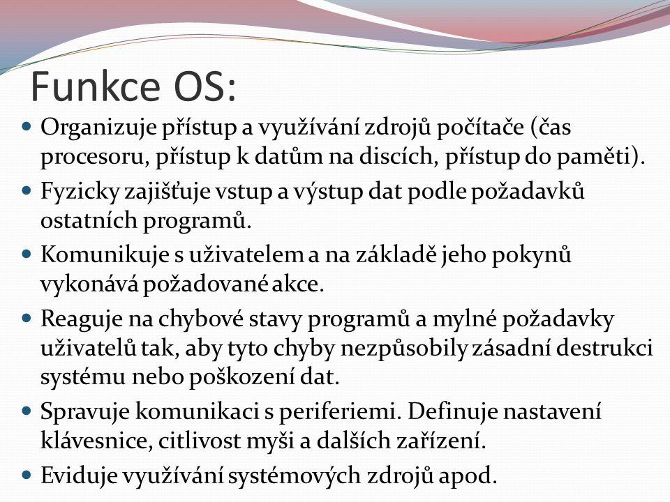 Struktura OS: Operační systém je zpravidla tvořen tzv.