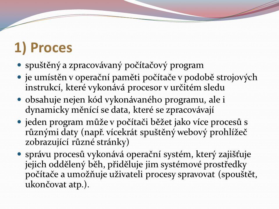 1) Proces spuštěný a zpracovávaný počítačový program je umístěn v operační paměti počítače v podobě strojových instrukcí, které vykonává procesor v ur