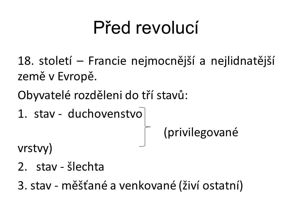 Před revolucí 18.století – Francie nejmocnější a nejlidnatější země v Evropě.