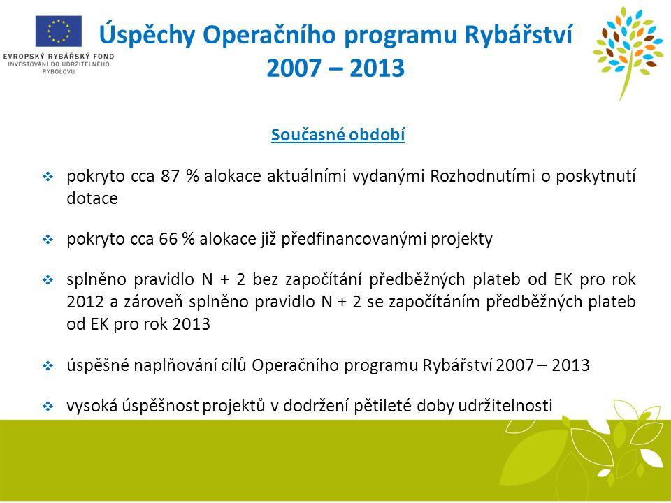 Úspěchy Operačního programu Rybářství 2007 – 2013 Současné období  pokryto cca 87 % alokace aktuálními vydanými Rozhodnutími o poskytnutí dotace  po