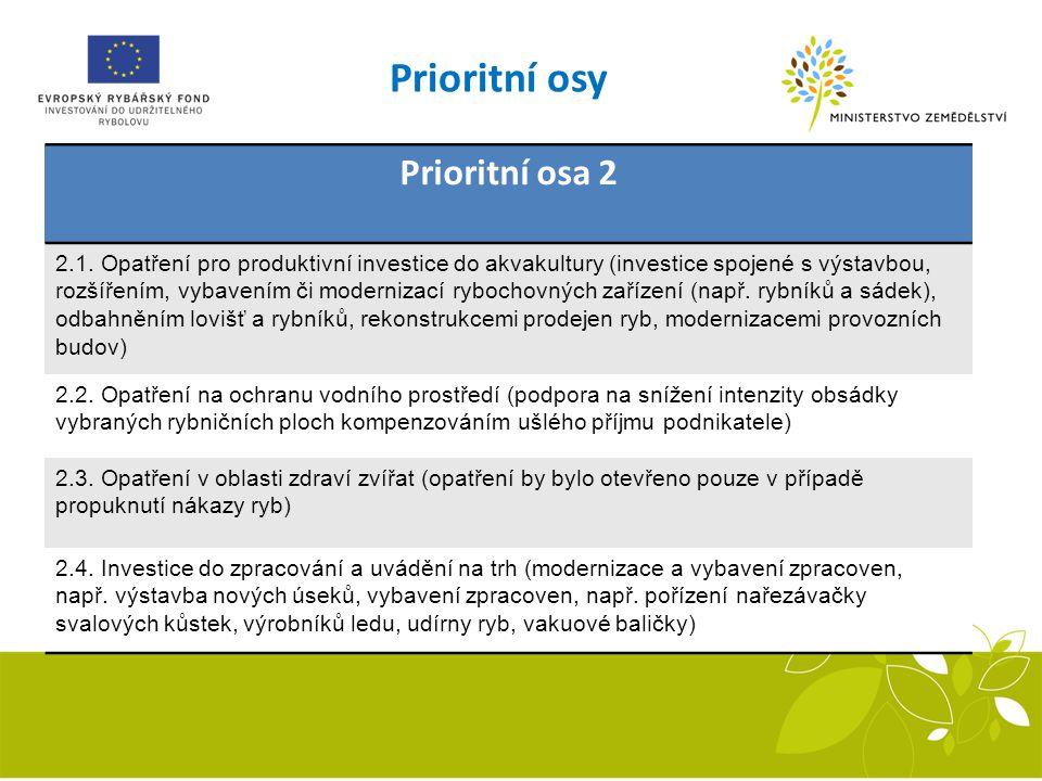 Prioritní osa 2 2.1. Opatření pro produktivní investice do akvakultury (investice spojené s výstavbou, rozšířením, vybavením či modernizací rybochovný