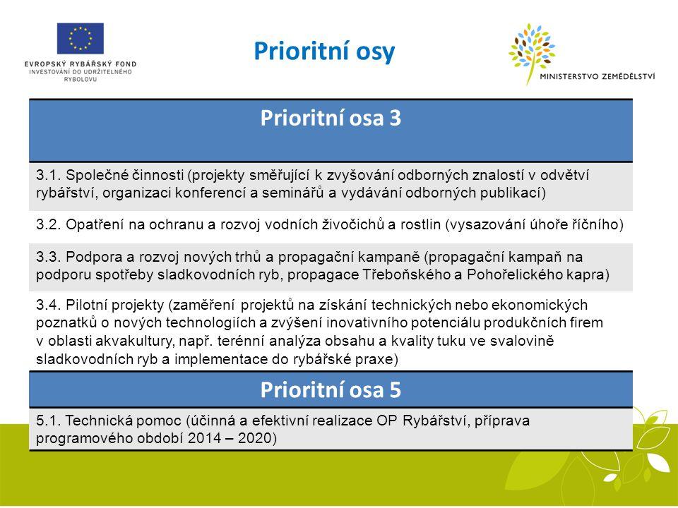 Prioritní osa 3 3.1. Společné činnosti (projekty směřující k zvyšování odborných znalostí v odvětví rybářství, organizaci konferencí a seminářů a vydá