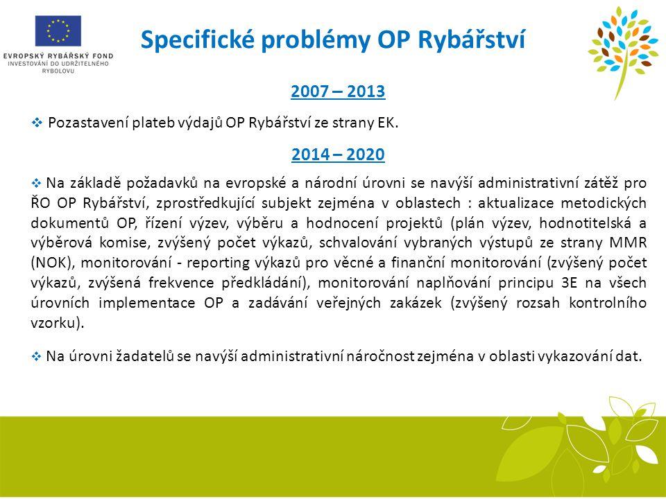 Specifické problémy OP Rybářství 2007 – 2013  Pozastavení plateb výdajů OP Rybářství ze strany EK. 2014 – 2020  Na základě požadavků na evropské a n