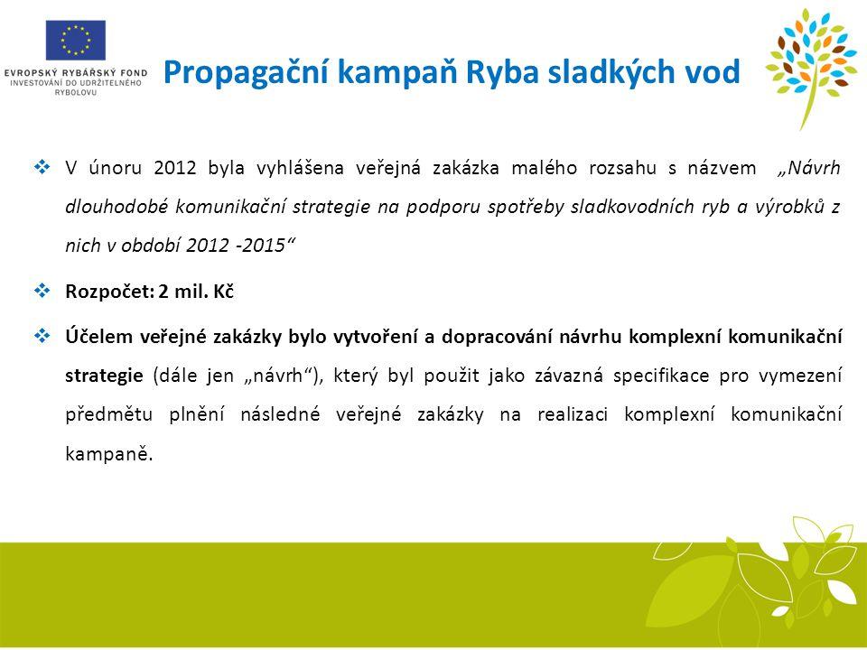 """Propagační kampaň Ryba sladkých vod  V únoru 2012 byla vyhlášena veřejná zakázka malého rozsahu s názvem """"Návrh dlouhodobé komunikační strategie na p"""