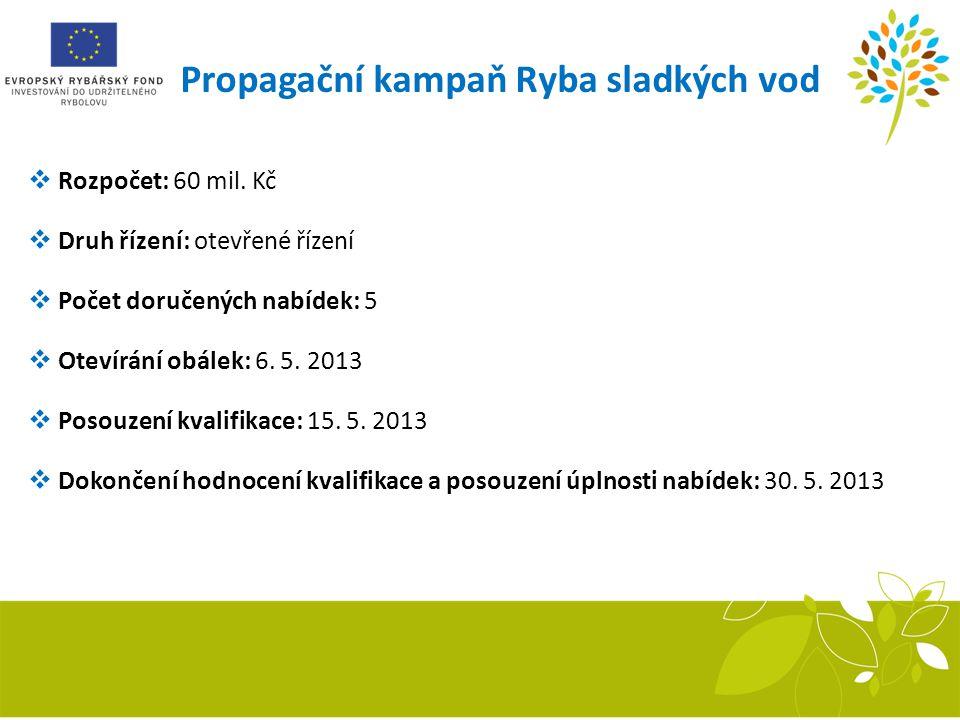 Propagační kampaň Ryba sladkých vod  Rozpočet: 60 mil. Kč  Druh řízení: otevřené řízení  Počet doručených nabídek: 5  Otevírání obálek: 6. 5. 2013