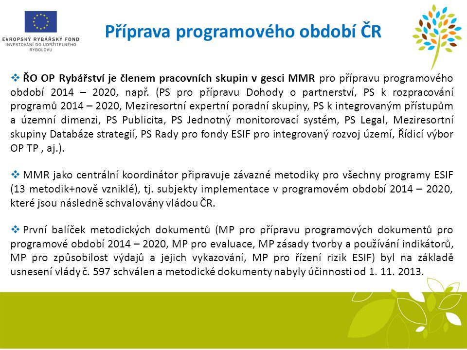 Příprava programového období ČR  ŘO OP Rybářství je členem pracovních skupin v gesci MMR pro přípravu programového období 2014 – 2020, např. (PS pro