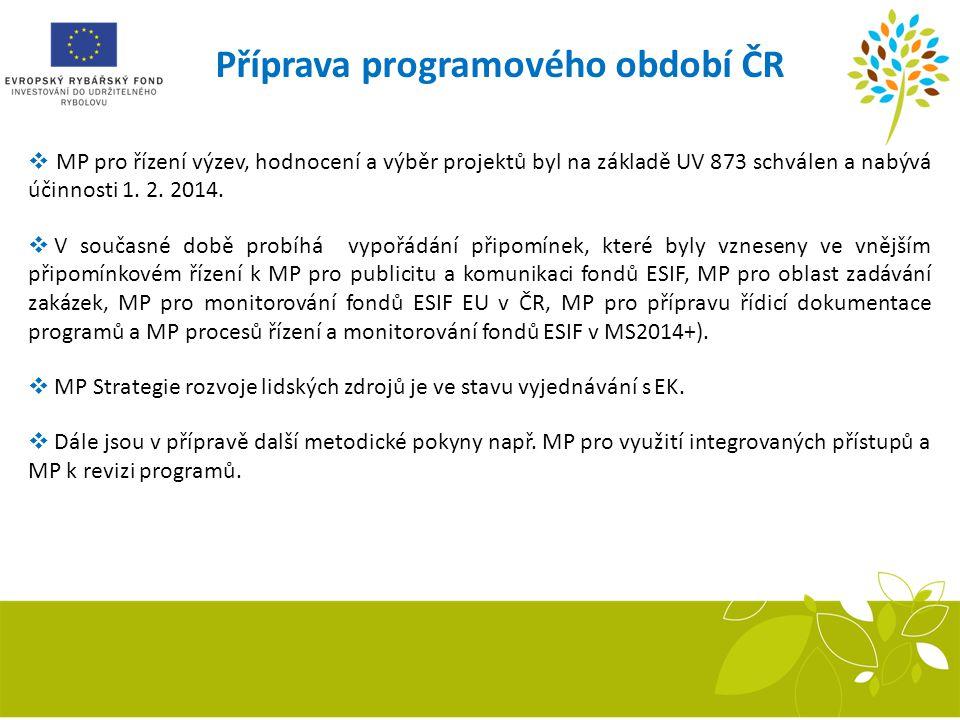 Příprava programového období ČR  MP pro řízení výzev, hodnocení a výběr projektů byl na základě UV 873 schválen a nabývá účinnosti 1. 2. 2014.  V so